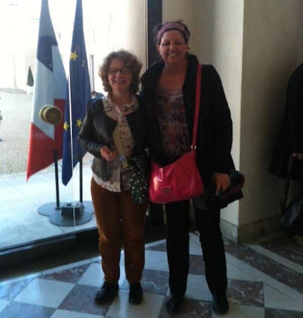 Evelyne Videau, référente régionale Poitou-Charentes CGT sur la question de l'égalité professionnelle femmes/hommes et Raphaëlle Maniere, Secrétaire générale de l'Union départementale CGT du Jura.