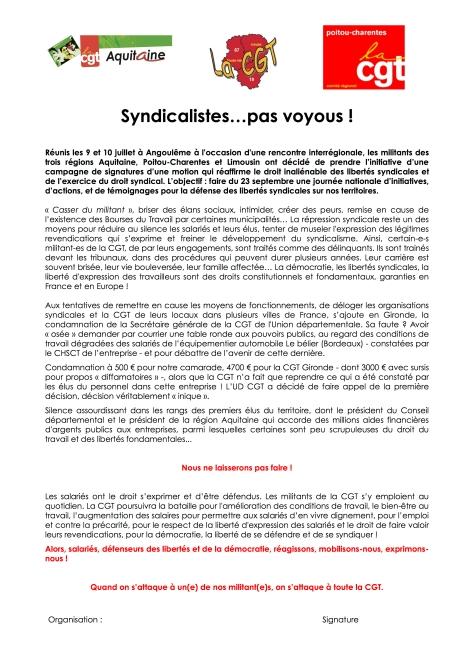 Motion libertés syndicale - 31 août 2015